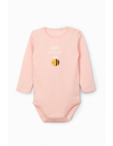 Body niemowlęce ze pszczółką i napisem - Miód dziewczyna - różowe