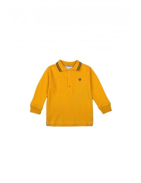 Bluzka chłopięca bawełniana z kołnierzykiem - żółta