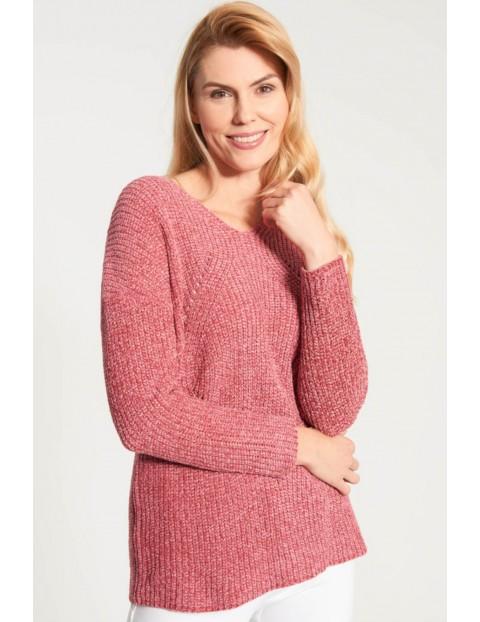 Sweter damski z półokrągłym dekoltem - luźny fason