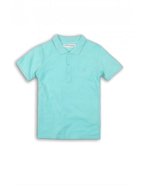 T-shirt z kołnierzykiem nibieski