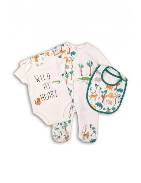 Zestaw niemowlęcy pajac, body i śliniak