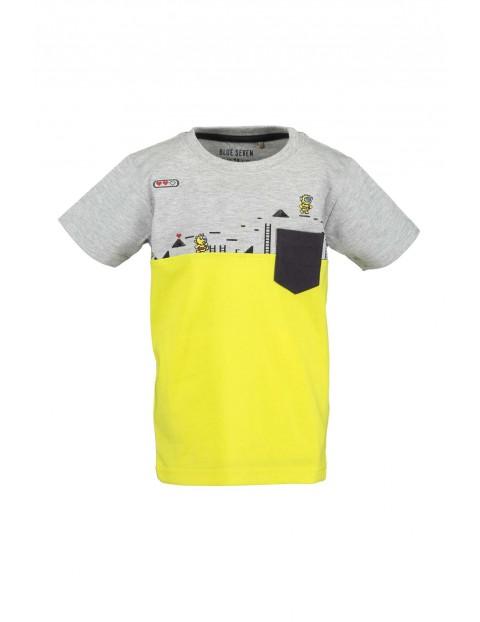 T-Shirt chłopięcy szaro-żółty