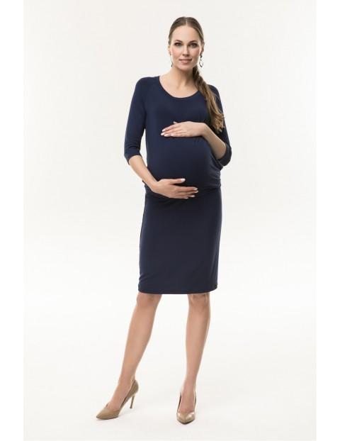 Sukienka ciążowa z dzianiny Simple-granatowa
