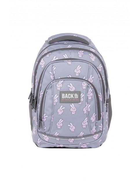Plecak BackUp dziewczęcy szary czterokomorowy w króliczki