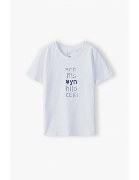 Bawełniany t-shirt chłopięcy biały z napisem- Syn - ubrania dla całej rodziny
