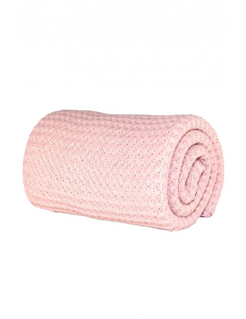 Kocyk bawełniany sweter - różowy 70/100cm
