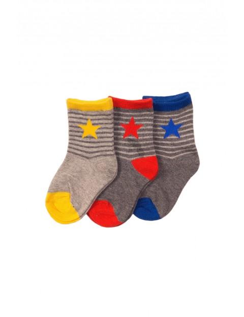 Skarpety dla chłopca- szare- kolorowe gwiazdki