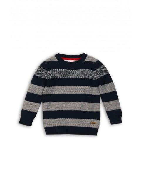 Sweter dla chłopca- szaro- czarne paski rozm 92/98