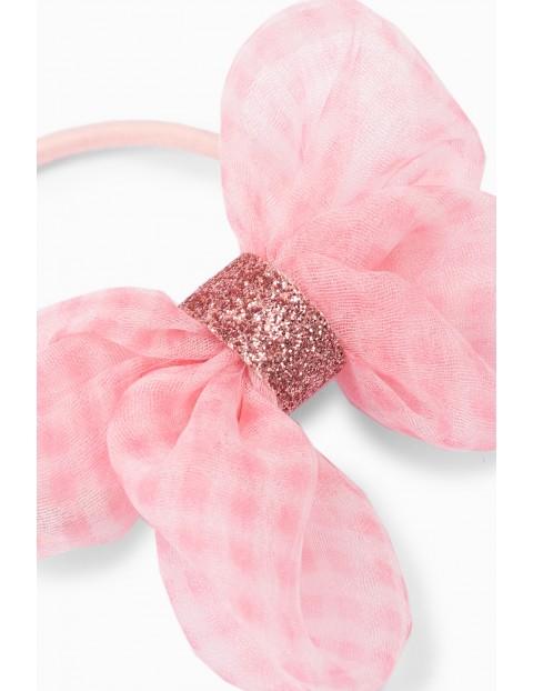 Gumka do włosów  dla dziewczynki kokardka - różowa