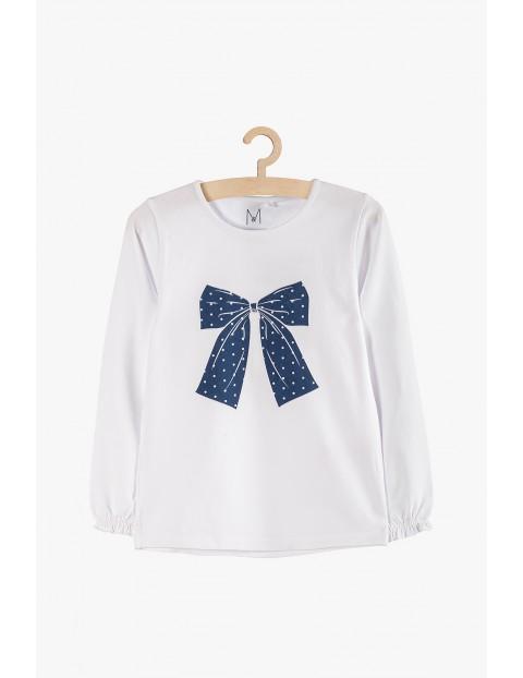 Biała bluzka dziewczęca z kokardą