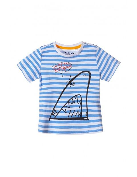 Koszulka chłopięca w niebiesko białe paski z rekinem