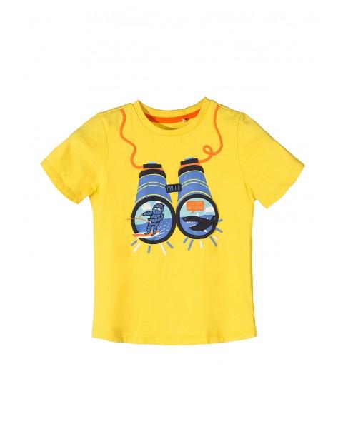 T-shirt dla chłopca-żółty z lornetką