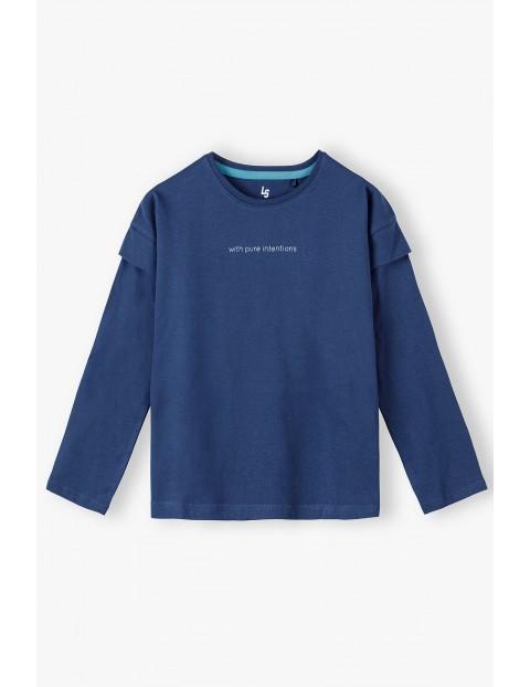 Granatowa bawełniana bluzka dziewczęca z napisem