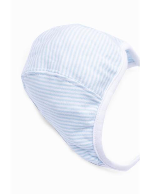 Czapka niemowlęca bawełniana- niebieska w paski