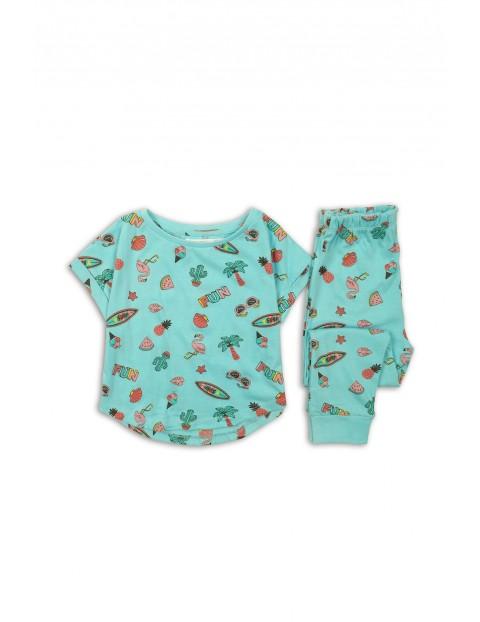 Pidżama dziewczęca zielona we wzorki