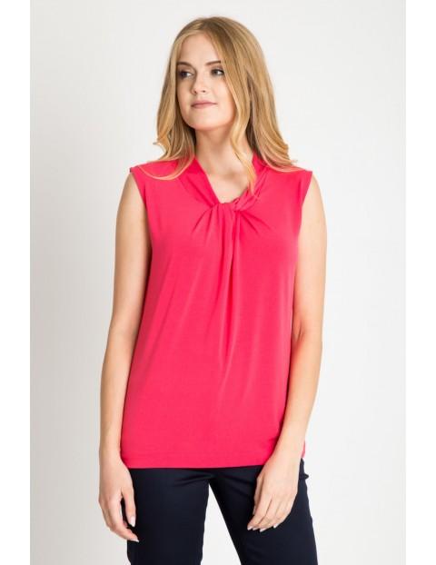 Bluzka z przełożonym dekoltem różowa