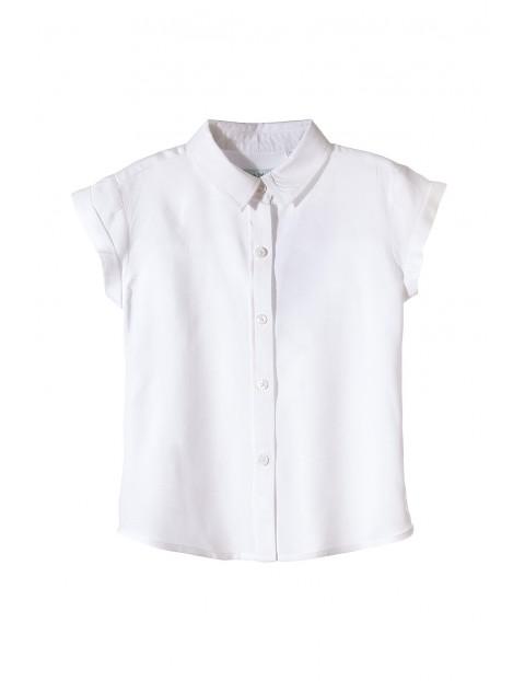 Biała koszula z którtkim rękawem dla dziewczynki-rozpinana