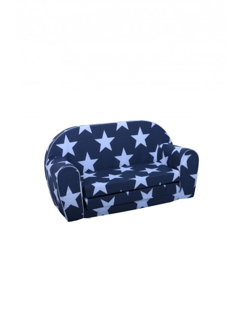 Granatowa sofa w niebieskie gwiazdki