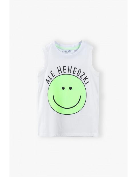 T-shirt chłopięcy w kolorze białym z napisem- Ale heheszki
