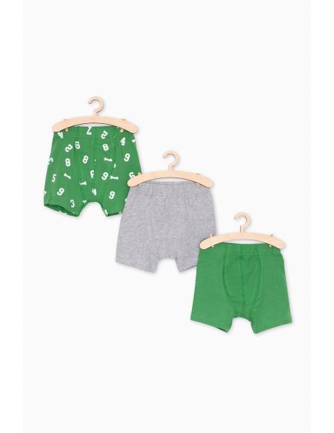 3pak bokserek dla chłopca- szaro-zielone