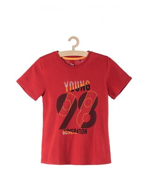 T-shirt chłopięcy dzianinowy- czerwony