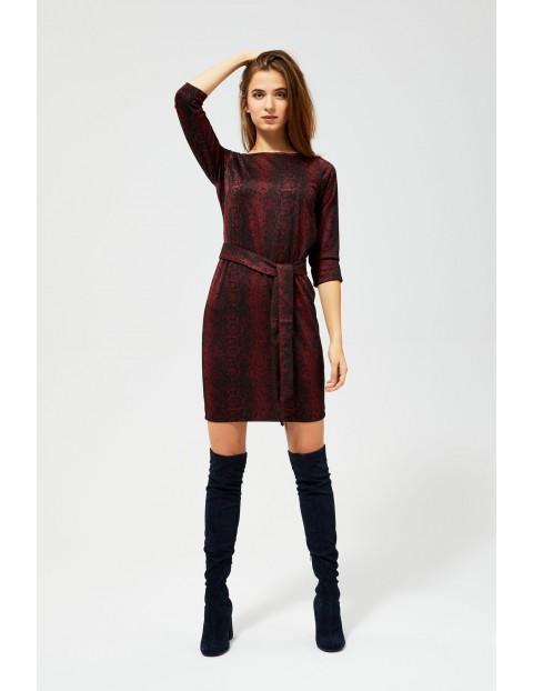 Bordowa sukienka damska z wiązaniem w talii