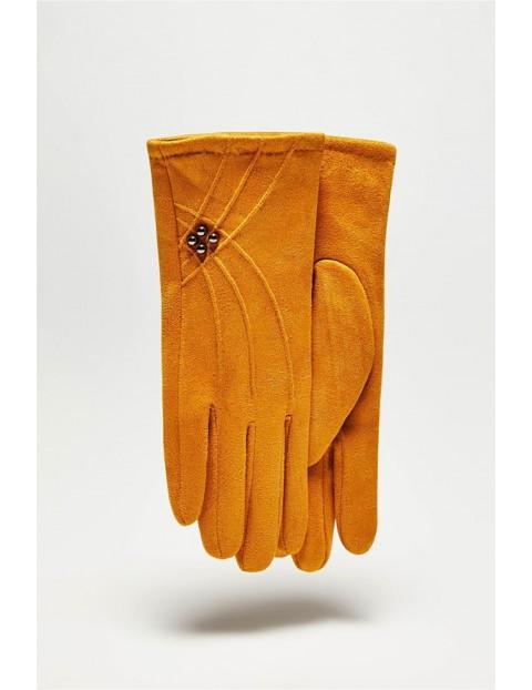Długie stylowe rękawiczki damskie - musztardowe