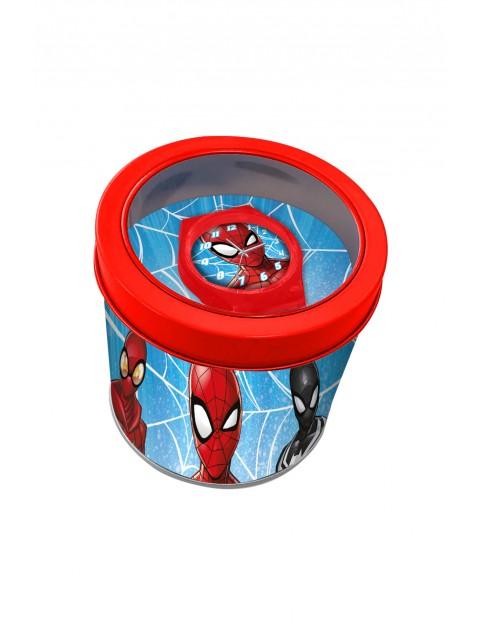 Zegarek analogowy dla dzieci w metalowym opakowaniu Spiderman