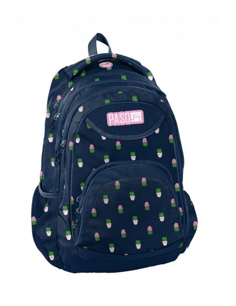 Plecak szkolny PASO granatowy w kaktusy
