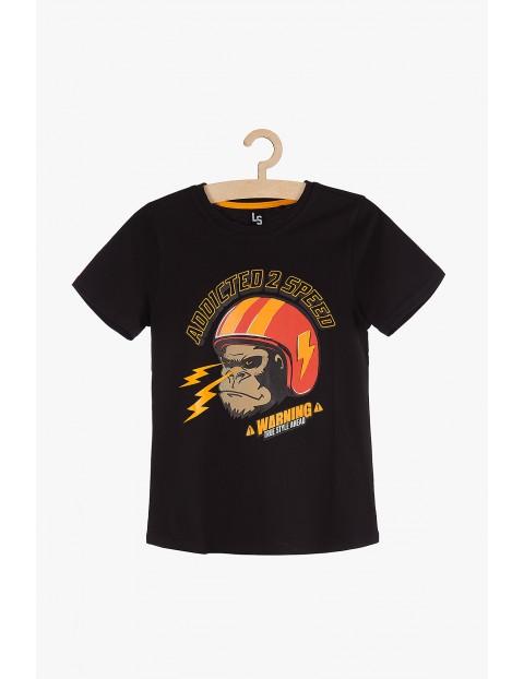 T-shirt chłopięcy czarny z gorylem