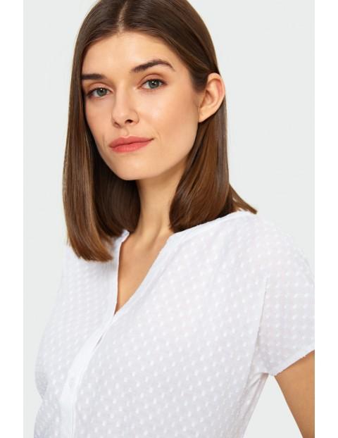 Bawełniana rozpinana bluzka damska na krótki rękaw