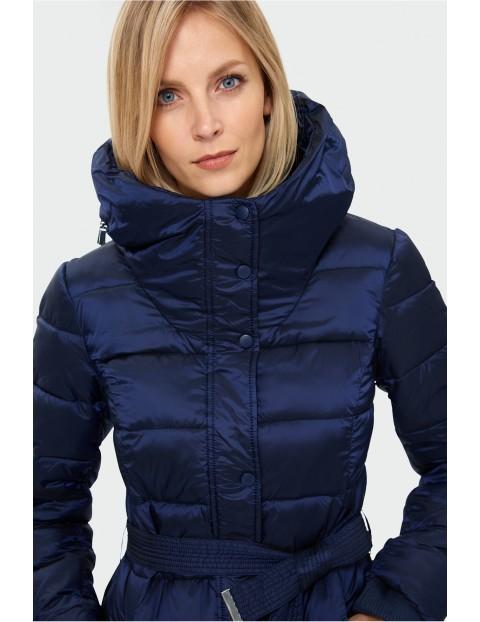 Granatowy pikowany płaszcz damski rozmiar 34