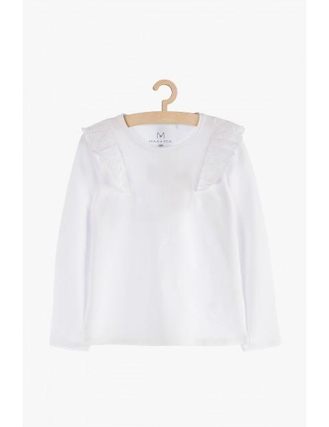 Bluzka biała dla dziewczynki z falbankami przy rękawach
