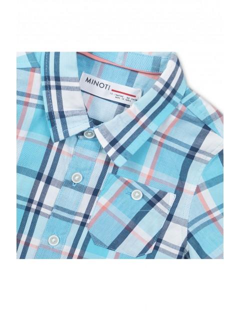 Koszula niemowlęca w kratę- niebieska