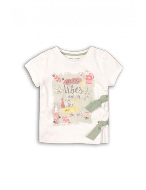 T-shirt dla niemowlaka- biały z kolorowymi nadrukami
