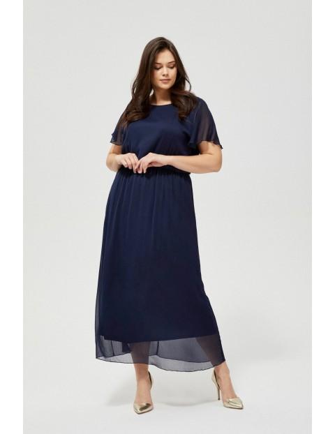 Sukienka damska granatowa z wiązaniem