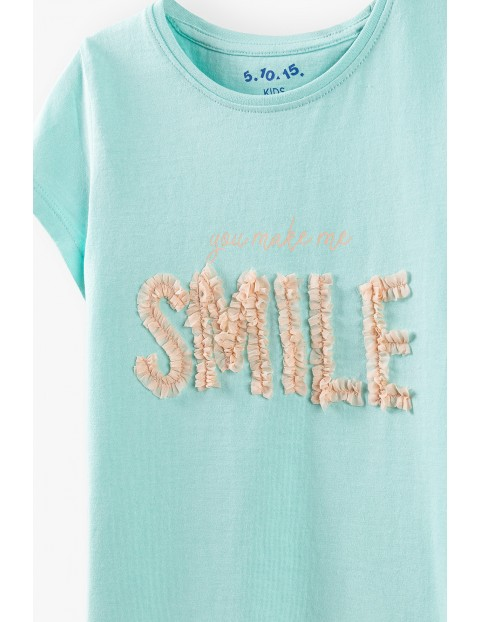 Bluzka dziewczęca z napisem Smile- niebieska
