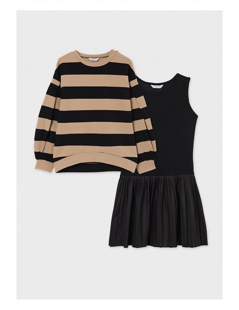 Komplet dziewczęcy - czarna sukienka i sweter w brązowo czarne paski