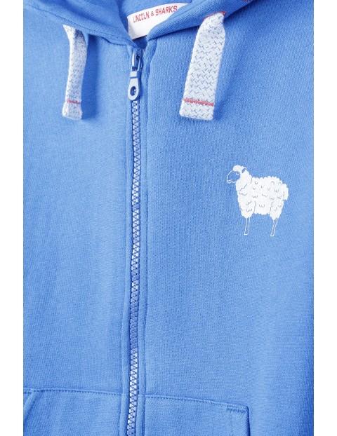 Bawełniana niebieska bluza dziewczęca z kapturem