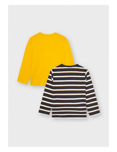 Komplet bawełnianych koszulek chłopięcych na długi rękaw - 2 sztuki
