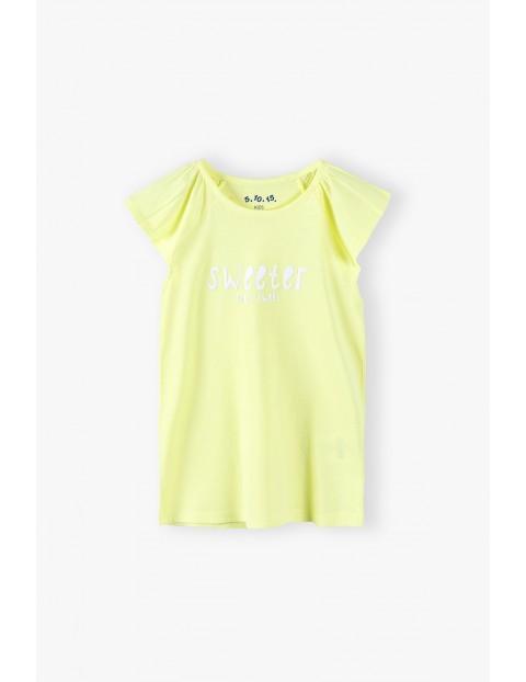 Bluzka dziewczęca żółta z ozdobnym marszczonym rękawem