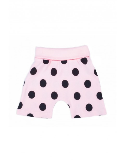 Bawełniane szorty niemowlęce w grochy- różowe