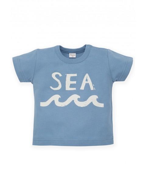 T-Shirt niemowlęcy niebieski- bawełniany