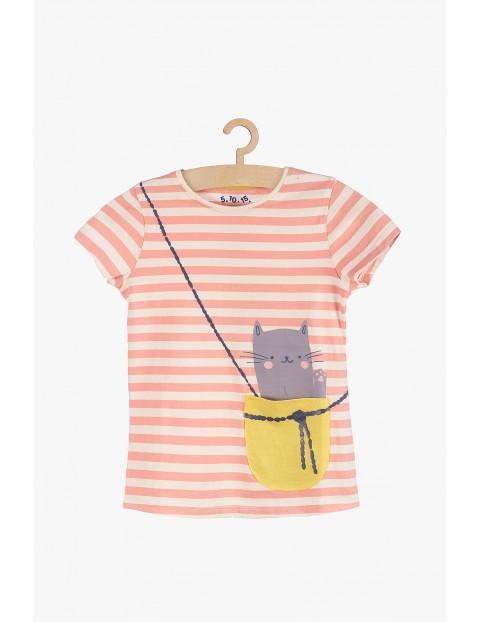 Dzianinowy t-shirt dziewczecy z kieszonką