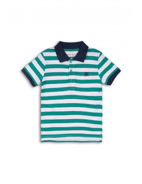 T-shirt niemowlęcy w biało-zielone paski