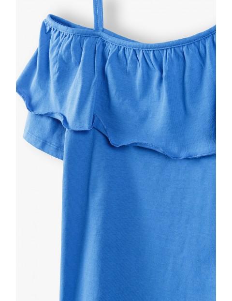 T- shirt dziewczęcy na ramiączka z falbankami - niebieskia
