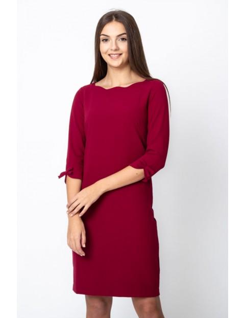 Sukienka damska gładka - bordowa