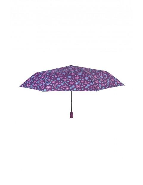 Parasol automatyczny-8 paneli średnica 99cm- fioletowy w kwiaty