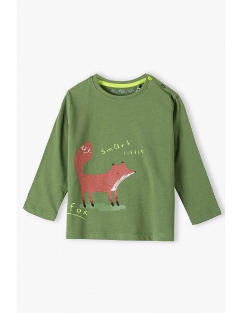 Bawełniana bluzka niemowlęca z długim rękawem z liskiem -zielona