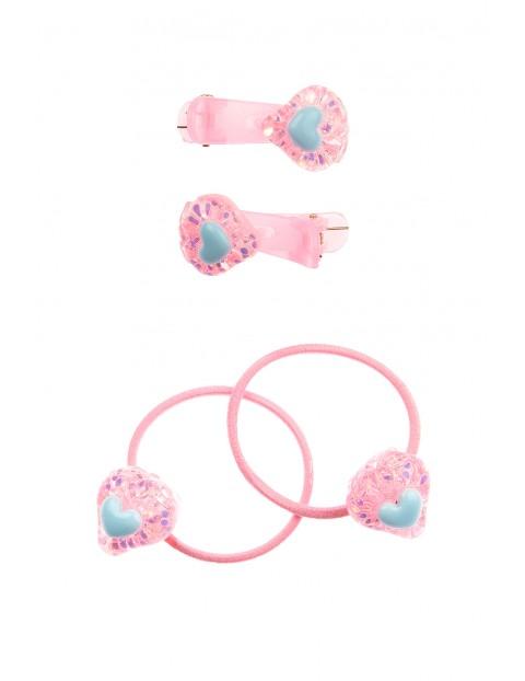 Zestaw do włosów spinki i gumki- różowe